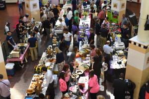 A scene from above the Made in Baltimore Vendor Fair at Lexington Market